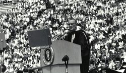 "President Lyndon Johnson first spoke of ""The Great Society"" while giving the University of Michigan Commencement in 1964.               University of Michigan photo"