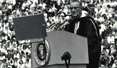 """President Lyndon Johnson first spoke of """"The Great Society"""" while giving the University of Michigan Commencement in 1964.               University of Michigan photo"""