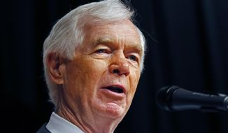 Republican Sen. Thad Cochran addresses a re-election rally on his behalf at the Mississippi War Memorial in Jackson, Miss., Monday, June 23, 2014. (AP Photo/Rogelio V. Solis) ** FILE **