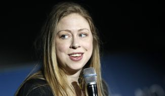 "Clinton Foundation Vice Chairwoman Chelsea Clinton speaks while hosting an event titled ""From STEM to Success: A No Ceilings Conversation,"" at the Colorado Museum of Nature and Science, in Denver, Monday, June 23, 2014. The event was part of the Clinton Global Initiative America, which is being held in Denver this week. (AP Photo/Brennan Linsley)"