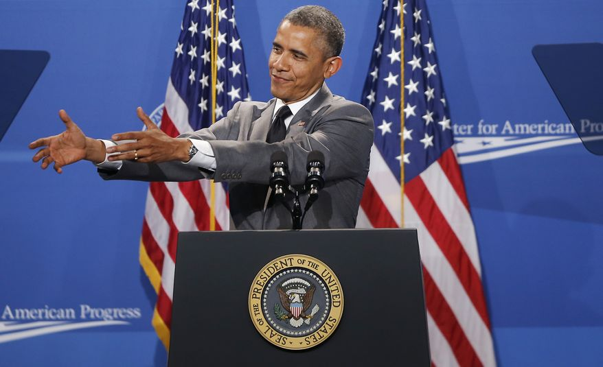 President Barack Obama mimics someone handing him a baby as he speaks at The White House Summit on Working Families, Monday, June 23, 2014, in Washington. The gathering, organized by the White House, Labor Department and the Center for American Progress, highlights the challenges and offers solutions faced by working families in America. (AP Photo/Charles Dharapak)