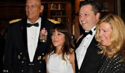 Gen. Raymond T. Odierno, Sgt. Mary Herrera, tenor Anthony Kearns, and Kirsten Fedewa of Kirsten Fedewa & Associates (from left) pose during the 239th United States Army Birthday Gala in New York on June 12.