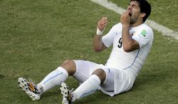 Uruguay's Luis Suarez (9) holds his teeth after running into Italy's Giorgio Chiellini's shoulder during the group D World Cup soccer match between Italy and Uruguay at the Arena das Dunas in Natal, Brazil, Tuesday, June 24, 2014. (AP Photo/Hassan Ammar)