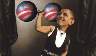 Illustration on remaining strengths of the Obama presidency by Alexander Hunter/The Washington Times