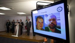 Federal officials display photographs of Fernando Sanchez Arellano, head of the Arellano Felix cartel, at a press conference to announce his capture, in Mexico City, Tuesday, June 24, 2014. The head of the once-mighty Tijuana-based Arellano Felix cartel was arrested in Mexico while watching the Mexican soccer team play in the World Cup, a top federal official said Tuesday. (AP Photo/Rebecca Blackwell)