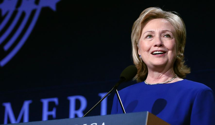 Former Secretary of State Hillary Rodham Clinton speaks to gathered participants at the annual gathering of the Clinton Global Initiative America, at the Sheraton Downtown, in Denver, Tuesday, June 24, 2014. (AP Photo/Brennan Linsley)