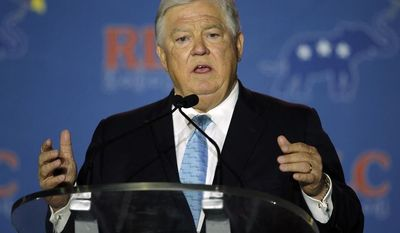 ** FILE ** Former Mississippi Governor Haley Barbour addresses the Republican Leadership Conference in New Orleans, La., Friday, May 30, 2014. (AP Photo/Bill Haber)