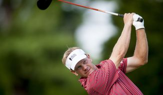 Billy Hurley III hits his tee shot on the 12th hole during the pro-am at the Quicken Loans National golf tournament being played on Wednesday at Congressional Country Club in Bethesda, Maryland. PHOTO: Pete Marovich Special to The Washington Times