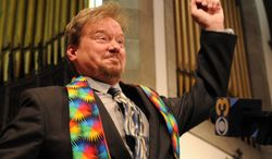 Defrocked United Methodist minister Frank Schaefer, wearing his rainbow stole for solidarity with LGBT people, does a little dance in celebration at a press conference where he announced the church had reinstated his credentials June 24, 2014, in Philadelphia.  A United Methodist Church appeals panel has overturned the church's decision to defrock Schaefer who presided over his son's same-sex wedding ceremony and said he would perform other gay marriages if asked.     ( AP Photo / The Philadelphia Inquirer, Clem Murray )    PHIX OUT; TV OUT; MAGS OUT; NEWARK OUT