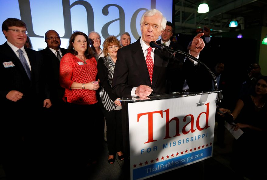Sen. Thad Cochran, Mississippi Republican, narrowly defeated state Sen. Chris McDaniel in a runoff for his party's nomination to U.S. Senate. (Associated Press)