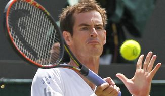 Defending champion Andy Murray of Britain returns to Biaz Rola of Slovenia during their men's singles match at the All England Lawn Tennis Championships in Wimbledon, London, Wednesday, June 25, 2014. (AP Photo/Sang Tan)