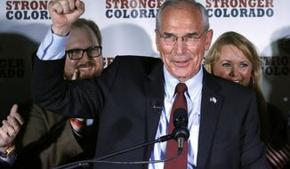 Republican gubernatorial candidate winner Bob Beauprez gestures with a closed fist as he addresses supporters at an election party in Denver on Tuesday, June 24, 2014. Eight years after running unsuccessfully for governor, the former congressman defeated three other Republicans, including former U.S. Rep. Tom Tancredo, for the nod to challenge Democratic Gov. John Hickenlooper in November. (AP Photo/Ed Andrieski)