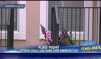 The flag outside the home of Florida veteran Larry Murphee show in this Fox NEws screen grab.