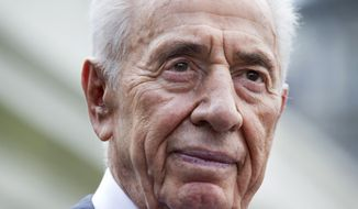** FILE ** Israeli President Shimon Peres pauses while speaking to the media outside the West Wing of the White House in Washington, Wednesday, June 25, 2014, following his meeting with President Barack Obama. (AP Photo/Jacquelyn Martin)