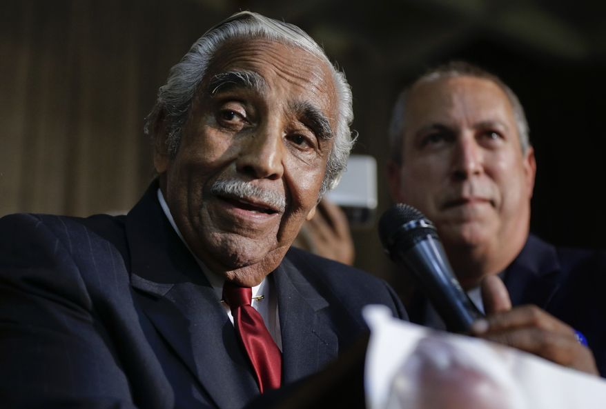 Rep. Charlie Rangel D-N.Y., speaks at his primary election night gathering, Tuesday, June 24, 2014, in New York. (AP Photo/Julie Jacobson)  ** FILE **