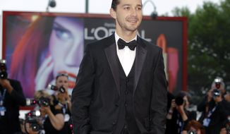 "** FILE ** In this Sept. 6, 2012, file photo, actor Shia LeBeouf arrives for the premiere of the movie ""The Company You Keep"" at the 69th edition of the Venice Film Festival in Venice, Italy. The New York Police Department confirms on Thursday, June 26, 2014, that LeBeouf  was taken out of a New York City theater for being disorderly and causing a disruption. (AP Photo/Andrew Medichini, file)"