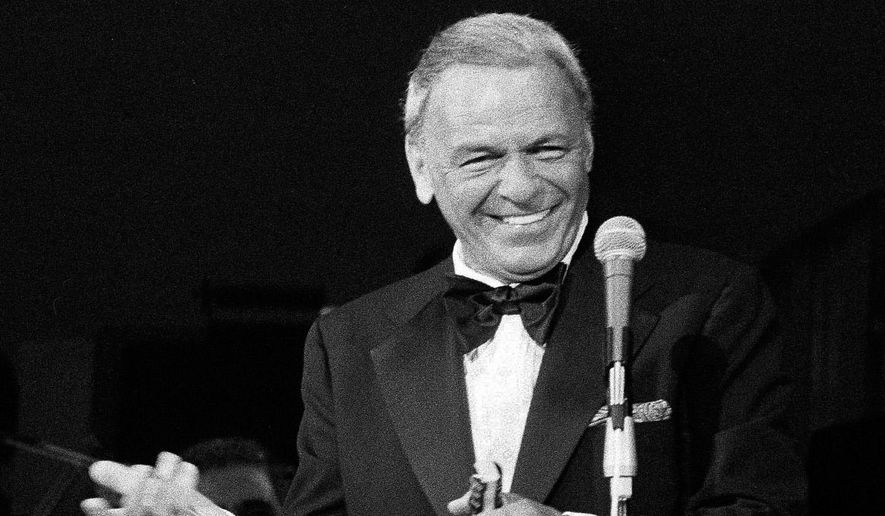 FILE - In this May 18, 1977 file photo, performer Frank Sinatra appears on the stage of the Westchester Premier Theater in Tarrytown, N.Y., during the opening night of his act with Dean Martin. Sinatra's first New Jersey driver's license has sold for $15,757 at auction. The yellowed, text-only 1934 license was issued, typo and all, to Francis Sintra, 841 Garden Street, Hoboken, New Jersey. The license was signed by the then-19-year-old a year before Sinatra got his first big break in the music industry.  (AP Photo/Ray Stubblebine, file)
