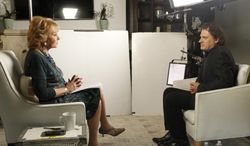 """This June 22, 2014 photo provided by ABC shows Barbara Walters, left, during an interview in Los Angeles with Peter Rodger, the father of Elliot Rodger, the 22 year old who killed six people, injured 13, before taking his own life near the campus of the University of California, on May 23, in Santa Barbara, Calif. The interview will air on a special edition of """"20/20"""" airing Friday, June 27, at 10 pm ET. (AP Photo/ABC, Rick Rowell)"""