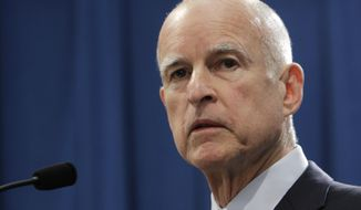 FILE -  In this Nov. 7, 2012 file photo, Gov. Jerry Brown speaks in Sacramento, Calif. (AP Photo/Rich Pedroncelli, File)