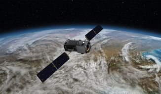 This Jan. 22, 2014, artist concept rendering provided by NASA shows their Orbiting Carbon Observatory (OCO)-2. The OCO-2, managed by NASA's Jet Propulsion Laboratory in Pasadena, Calif., will launch from Vandenberg Air Force Base, Calif., on a Delta II rocket on July 1, 2014. Five years after a NASA satellite to track carbon dioxide plunged into the ocean after liftoff, the space agency is launching a carbon copy _ this time on a different rocket. The $468 million mission is designed to study the main driver of climate change emitted from smokestacks and tailpipes.  (AP Photo/NASA/JPL-Caltech)