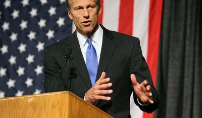 Sen. John Thune, South Dakota Republican, is poised to become chairman of the Commerce, Science and Transportation Committee if Republicans reclaim control of the Senate in the November midterms. (Associated Press)