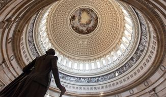 Bills in the Senate is still as a statue in the Capitol Rotunda, but Republicans hope to get things moving if they win control of the chamber in the midterm elections. Polls suggest they have a solid chance. (Associated Press)