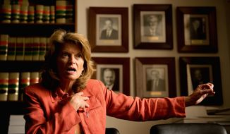 Sen. Lisa Murkowski, Alaska Republican, is pushing to make the export of U.S. natural gas and oil easier, over the concerns of environmentalists. (Andrew Harnik/The Washington Times)