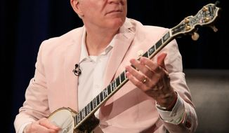 Actor Steve Martin's acoustic banjo shows have won him kudos from music critics. Ashley Campbell, (right), played her banjo on tour with her father, singer Glen Campbell. The instrument has a newfound popularity. (associated press photographs)