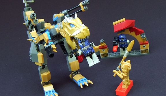 Hasbro's Kre-O Transformers Grimlock Street Attack brick building set features a hungry Dinobot, collapsing arch and three minifigures. (Photo by Joseph Szadkowski/The Washington Times)