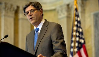 ** FILE ** Treasury Secretary Jack Lew. (Associated Press)