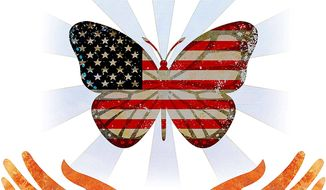 American Butterfly Freedom Illustration by Greg Groesch/The Washington Times