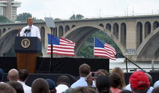 President Obama speaks about the economy and transportation Tuesday at the Georgetown Waterfront Park in Washington. The president seeks new ways to act unilaterally without Congress given the stonewalling Republicans have continually set before him. (Associated Press)
