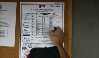 Washington Nationals manager Matt Williams (9) looks at the lineup in the dugout before a spring exhibition baseball game against the New York Mets, Wednesday, March 5, 2014, in Viera, Fla. (AP Photo/Alex Brandon)