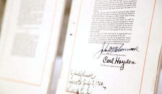 This photo taken June 17, 2014 shows pages of the Civil Rights Act of 1964 shown in the basement of the National Archives in Washington. (AP Photo/Connor Radnovich)