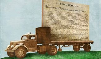 Declaration of Independence Moving Truck Illustration by Greg Groesch/The Washington Times
