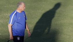 Brazil's coach Luiz Felipe Scolari attends a training session the day before the quaterfinal World Cup soccer match between Brazil and Colombia in Fortaleza, Brazil, Thursday, July 3, 2014.(AP Photo/Andre Penner)