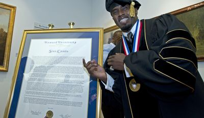 Entertainer and entrepreneur Sean Combs was awarded an honorary doctorate from Howard University in May. Mr. Combs attended Howard in the late 1980s but never graduated from college. (AP Photo/Jose Luis Magana)