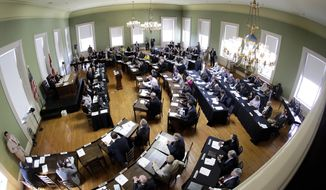 The House chamber at the Old State House in Little Rock, Arkansas. Republicans are hoping to use President Obama's unpopularity to propel them to victories at the state levels.  (AP Photo/Danny Johnston)