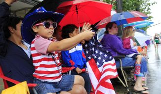 R.J. Delgado-Borrero, 5, waves his flag as the Fourth of July parade goes by in downtown Pittsfield, Mass., Friday, July 4, 2014. (AP Photo/Stephanie Zollshan, The Berkshire Eagle)