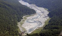 In this June 3, 2014 aerial photo, the Elwha River flows freely through what was Lake Mills and past the old Glines Canyon Dam, bottom, in the Olympic National Park near Port Angeles, Wash. The final chunks of concrete are expected to fall this September in the nation's largest dam removal project, but nature is already reclaiming the Elwha River on Washington's Olympic Peninsula. (AP Photo/Elaine Thompson)