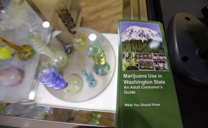 A consumer's guide to marijuana use, published by the Washington State Liquor Control Board, sits on a counter at the Cannabis City marijuana retail shop days before the grand opening Wednesday, July 2, 2014, in Seattle. Pot is expected to go on sale beginning Tuesday, July 8, the first day that recreational marijuana can legally be sold in Washington state. The shop is expected to be the first licensed retailer in Seattle. (AP Photo/Elaine Thompson)