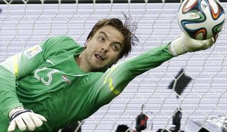 ALTERNATIVE CROP OF WCEM302.- Netherlands' goalkeeper Tim Krul saves the last penalty kick during the World Cup quarterfinal soccer match between the Netherlands and Costa Rica at the Arena Fonte Nova in Salvador, Brazil, Saturday, July 5, 2014. The Ntherlands won 4-3 on penalty kicks. Late substitute Krul made two saves in a 4-3 penalty shootout victory over Costa Rica on Saturday to give the Netherlands a spot in the World Cup semifinals following a 0-0 draw.(AP Photo/Hassan Ammar)
