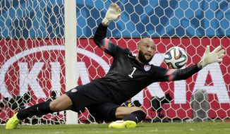 United States' goalkeeper Tim Howard was at the center of petition by fans to have President Obama name him as the next secretary of defense. (AP Photo/Felipe Dana)