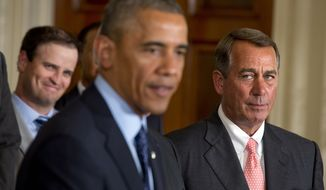 House Speaker John Boehner, right, has dismissed what he says is President Barack Obama's flippant attitude. (AP Photo/Jacquelyn Martin)