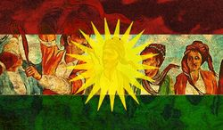 Illustration on an emerging Kurdistan by Alexander Hunter/The Washington Times