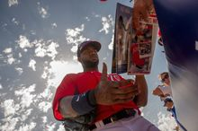 """Making a name: Center fielder Denard Span arguably has the most legible autograph of the Washington Nationals, particularly on the video boards. """"I can say that I want my signature to be recognized, whether it's on a picture or on a piece of paper,"""" he says. (Andrew Harnik/The Washington Times)"""