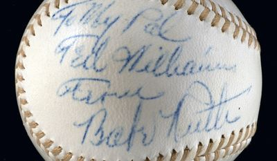 """This undated photo provided by Hunt Auctions shows a baseball in pristine condition that Hall of Famer Babe Ruth autographed for Boston Red Sox great Ted Williams and sold for $195,500 during an auction of Williams' sports, military and personal memorabilia, Saturday, April 28, 2012, in Boston. The ball, which had the inscription: """"To my pal Ted Williams, From Babe Ruth,"""" set a record sale for a baseball signed by Ruth that wasn't used in a game, Hunt Auctions Inc. said. (AP Photo/Hunt Auctions)"""
