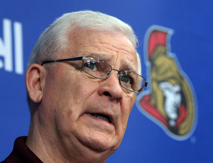 This May 28, 2013, photo shows Ottawa Senators general manager and president of hockey operations Bryan Murray during a news conference in Ottawa.  Murray has been diagnosed with cancer. The team confirmed the diagnosis Monday, July 7, 2014, in a statement on its website. (AP Photo/The Canadian Press, Fred Chartrand)
