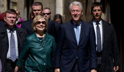 Former Secretary of State Hillary Rodham Clinton's presidential run could be complicated due to her husband, former President Bill Clinton. (associated press)