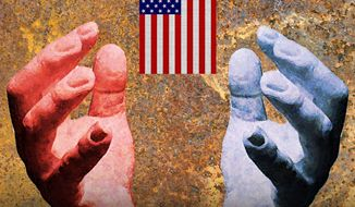 Illustration on the political right and left by Alexander Hunter/The Washington Times
